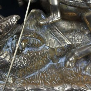 Spectacular Solid Brass Figure George Slaying The Dragon