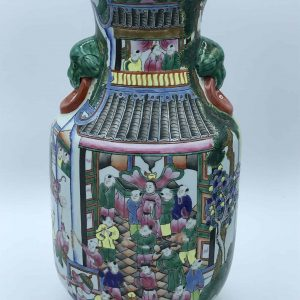 Large 20th Century Famille Rose Chinese Porcelain Hand Painted Vase