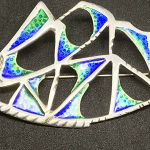 1964 Sterling Silver And Enamel Brooch by David Lawrence