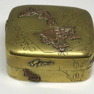Antique Meiji Japanese Mixed Metal Copper & Brass Snuff / Pill Box