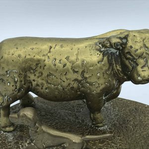Large Brass Model – Farmer Tending To His Cattle With Working Dog