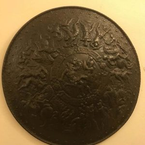 19th Century Bronze Finish Cast Iron Battle Scene Shield Coalbrokedale