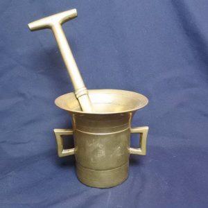 Antique Georgian / Victorian Bell Metal Brass Pestle & Mortar 19th Century