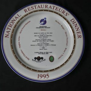 National Restaurateurs Dinner presentation Plate Hilton Park Lane 1995