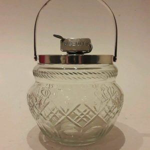 Hukin & Heath Birmingham Silver Plated And Cut Glass Biscuit Barrel