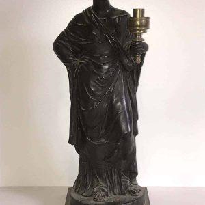 Rare 19th Century Ebonised Black Plaster Figure Humphrey Hopper