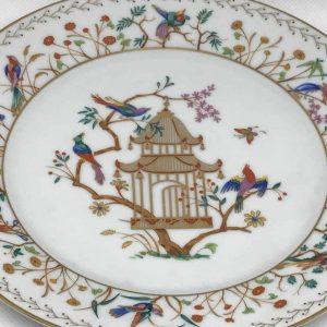 Tiffany Limoges Audubon Chinese Pavilion Plate Gold Birds France