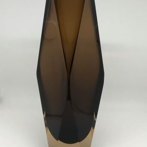Italian Murano glass faceted vase 11 Inches Smokey Brown clear cased 1960's