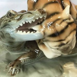 Royal Dux Porcelain Tiger Fighting A Crocodile