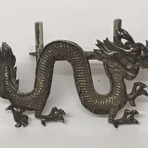 Antique Chinese Export Silver Dragon figure Menu Holder mark Wang Hing & Co