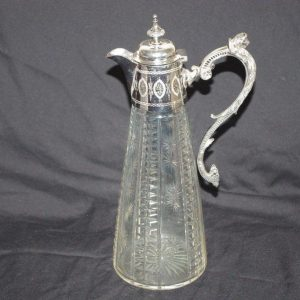 Antique Victorian Silver Plate Cut Glass Claret Jug Decanter
