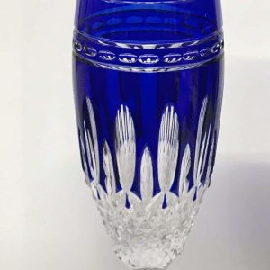Pair Waterford Crystal Cobalt Blue Champagne Flutes Clarendon