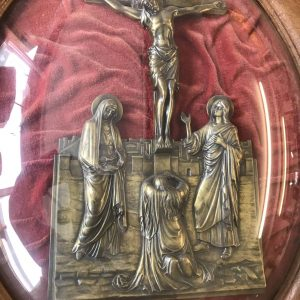 19th Century French Domed Glass Frame Bronze Crucifix