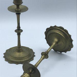 Pair Antique 19th Century Brass Candlesticks Stock A101b