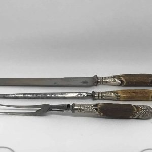 19th Century Carving Set, Joseph Rogers Cutler To The Queen Antler Horn Handles