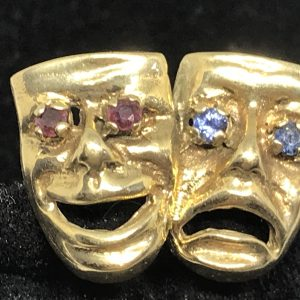 9ct Gold Cufflinks Theatre Tragedy and Comedy