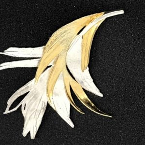 Gold On Silver Danish Denmark Two Feathers Brooch Flora Danica