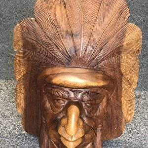 Very Large Hand Carved Native American Indian Wood Carving Bust /  Head