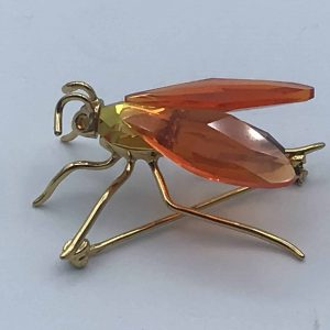 Solid Silver Swarovski Crystal Bee Brooch