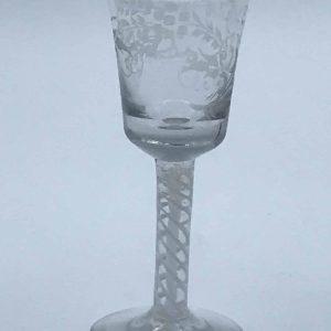 Antique 19th Century Opaque Cotton Twist Drinking Glass