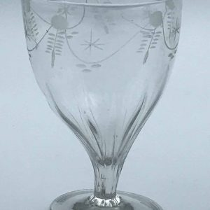 Engraved 18th Century Georgian Petal Moulded Drinking Glass Circa 1780