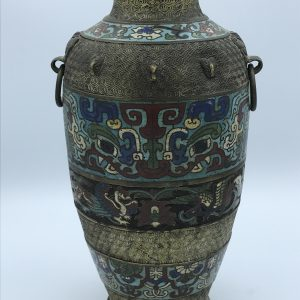 Antique Japanese Meiji Period Enamel & Brass Vase Champleve