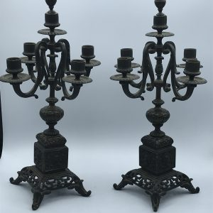 Pair Antique 19th Century Solid Bronze Candelabra / Candlesticks
