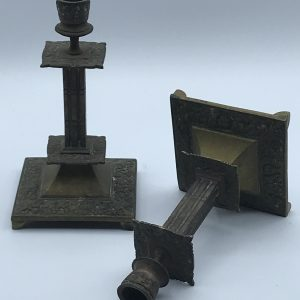 Pair Antique Bronze Candlesticks stock code A101C
