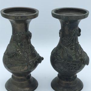 Pair 20th Century Chinese Bronze Vases