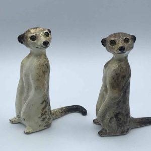 Pair Winstanley Ceramic Pottery Meerkats Size 2