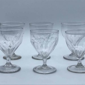 Rare Set Six 18th Century Georgian Petal Moulded Drinking Glasses