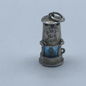 White Metal Fob Welsh Miners Davy Lamp