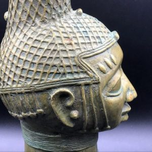 20th Century African Benin Bronze Bust / Head