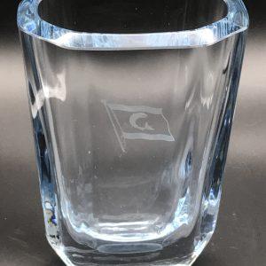 Large Swedish Signed Stromberg Engraved Glass Vase Shipping Line Flag