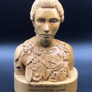 Signed Carved Wood Bust of Ophelia