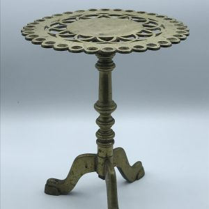Antique 19th Century Brass Trivet Formed As Georgian English Tilt Top Table