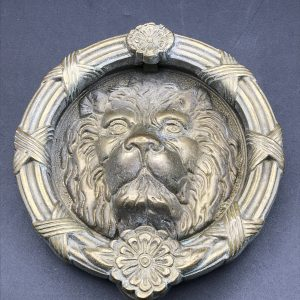 20th Century Heavy Brass / Bronze Lion Head & Tudor Rose Door Knocker