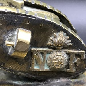 WW1 Trench Art Brass Tank Trinket Pot Northumberland Fusiliers