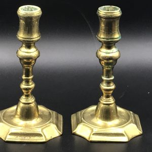 18th Century English Brass Candlesticks Georgian Circa 1725