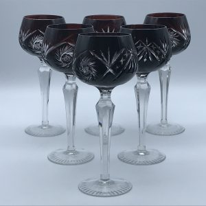 Set Six 20th Century Bohemian Flashed Cut Glass Crystal Hock Glasses