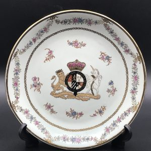 Antique Hand Painted Porcelain Plate Armorial / Crested by Samson