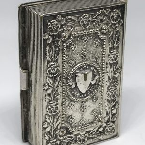 Antique Silver Plate Vesta Case Book Form English Rose and Thistle