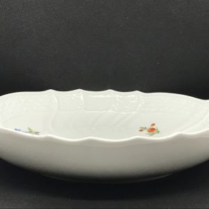 Large Antique Meissen Porcelain Bowl New Osier Pattern Hand Painted Flowers