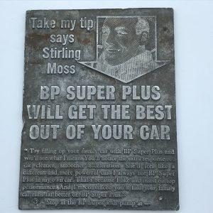 Steel Printing Plate Stirling Moss BP Advertising Panel