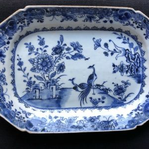 18th Century Chinese Porcelain Platter Qianlong Two peacocks