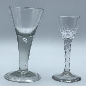 18th Century English Drinking Glass Georgian Folded Foot