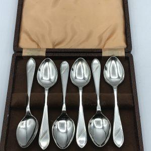 Boxed Set Six Sterling Silver Spoons Sheffield 1945 W.S Ltd