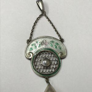 Antique Sterling Silver & Enamel  Pendant Charles Horner