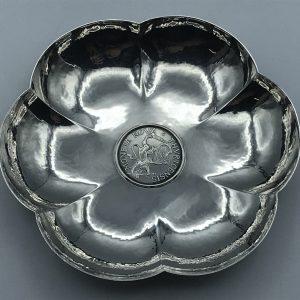Antique Vintage Jezler 800 Silver Coin Dish Swiss Cantons ZURICH 5 Schillings 1700