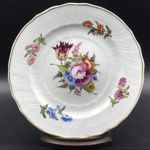Early Welsh Swansea Porcelain Hand Painted Plate Moulded pattern Henry Morris